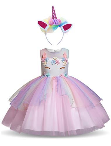 YONIER Costume Classico Abito da Ragazza Principessa Unicorno Cosplay Tutu Gonna per Rainbow Party Costume Estivo Carnevale Battesimo Compleanno Comunione Matrimonio Fiore