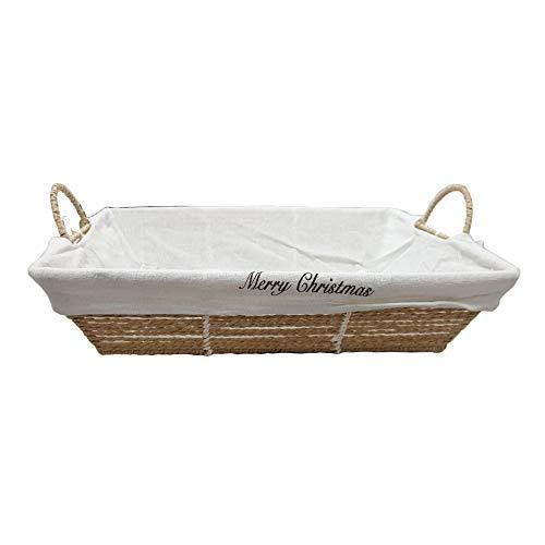 Cesto Vimini Paviera Fodera Rettangolare Vuoto 44x33H10/16 Cm Ideale per confezionare regali strenne gastronomiche per Natale feste Vino Basket Wicker Empty Rectangular Lining packing gourmet
