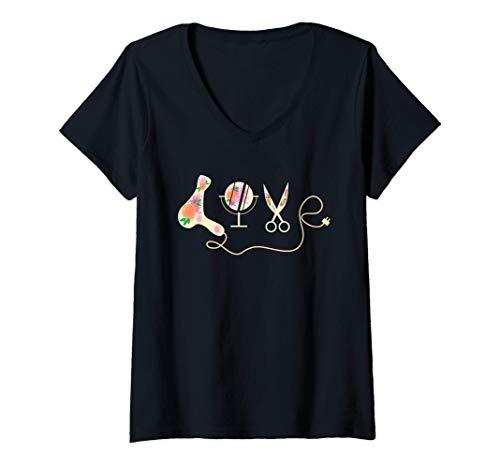 Mujer Peluquería Funny HairStylist Peluquero Amor Trabajo Camiseta Cuello V