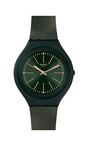 Swatch Damen Analog Schweizer Quarz Uhr mit Silicone Armband SVUG100