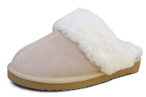 Heitmann Damen- und Herren Lammfell-Hausschuhe Pantoffeln Beige (381) Größe 45 (43)