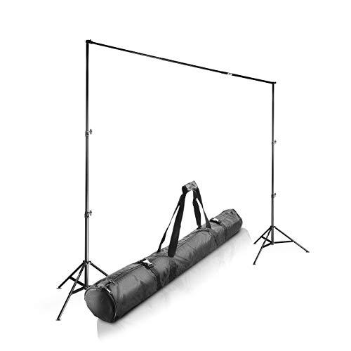 Walimex Pro Teleskop Hintegrundsystem (stufenlos ausziehbar von ca. 120-307 cm, inkl. 2x WT-806 Lampenstativen und praktischer Transporttasche)