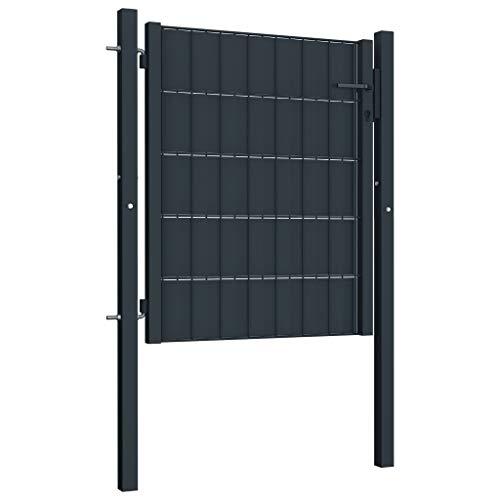 VidaXL Tuinhek, tuinpoort, inrijdstor, tuinhek, poort, deur, staal, 101 x 100 cm, antraciet