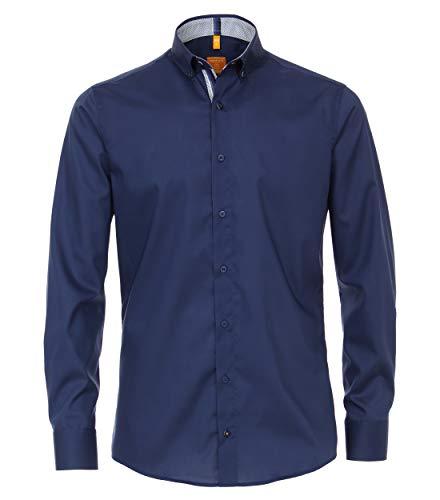 Redmond Body Cut Camicia Natural Stretch con colletto Kent o Button-Down e tessuto a contrasto. Blu (18). XXXL