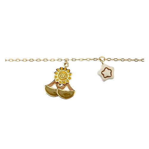 THUN - Bracciale da Donna con Segno Zodiacale Bilancia - Oroscopo - Gioielli Donna - Ottone Placcato Oro e Ceramica