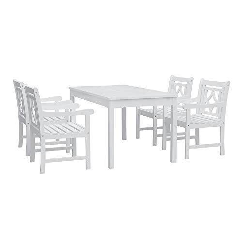 Vifah V1336SET26 Bradley Outdoor 5-Piece Wood Patio Rectangular Table Dining Set, White