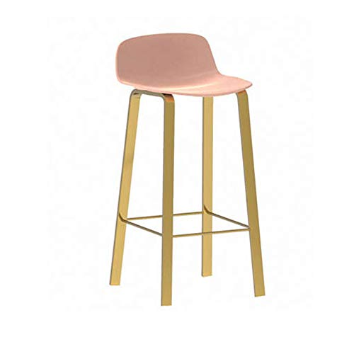 CCLC stoelen, stoelen, smeedijzer, vrijetijdsstoel, barkruk, zadelrugleuning, goudkleurige legging, roze, 65 cm