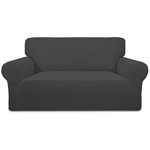 Greatime Stretch Sofabezug Sofaüberwurf Möbelschutz Sofaüberzug Couchbezug Couch Schild Sofahusse Weich mit Gummiband Schaumstreifen(Dunkelgrau,2-Sitzer)