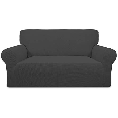 Easy-Going Stretch Sofa Slipcover 1-Piece Sofa Cover Furniture Protector Couch Soft with Elastic Bottom Anti-Slip Foam Kids, Spandex Jacquard Fabric Small Checks(loveseat,Dark Gray)