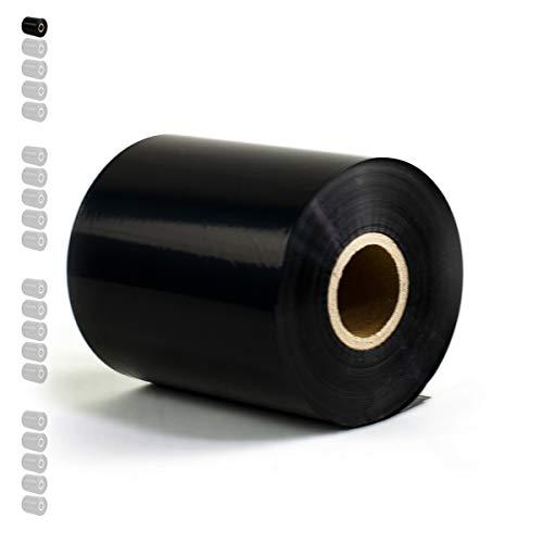 1 Rolle - Thermotransferfolie Wachs/Harz Premium Qual: 208 | 110mm x 300m (Breite x Länge) | Farbe: schwarz | Thermotransfer Farbband für Industriedrucker | HUTNER