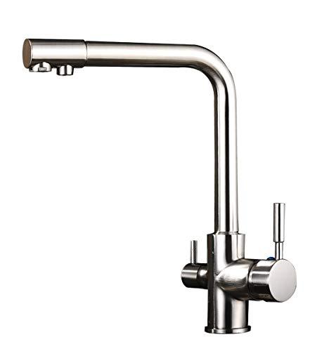 kisimixer Grifo de agua potable de 3 vías para filtro de agua, doble palanca, grifo de cocina, grifo 3 en 1, grifo mezclador de agua caliente y fría, grifo de fregadero de níquel cepillado