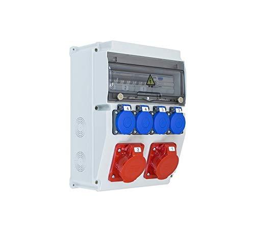 Coffret électrique de chantier étanche équipé EDO ASTAT 121SP 2x16A/5P, 4x230V + disjoncteurs HAGER