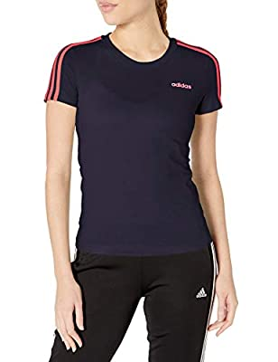 adidas womens Essentials 3-Stripes Tee Ink/Signal Pink Small