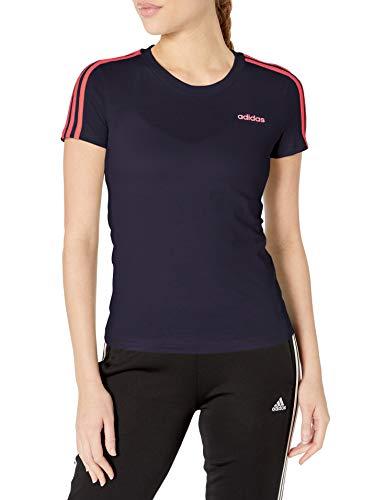 adidas Camiseta Delgada de 3 Rayas para Mujer Essentials, Mujer, Camiseta, FRU57, Tinta/Señal Rosa, XS