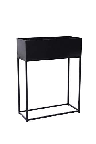 VIVANNO Pflanzbox Hochbeet Dekobox pulverb. Stahlblech Style 78x60x25 cm, Schwarz Matt