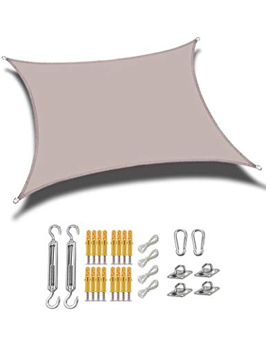 gfdfrg Cuadrado/Rectangular Toldo Exterior Vela de Sombra,protección 90% Rayos UV Impermeable Toldo de Vela con Kit de Fijación para Patio al Aire Libre, Jardín,Caqui