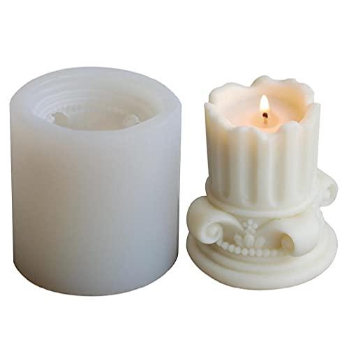 3D European Roman Column - Molde de silicona para velas, forma de jabón para la fabricación de cera de soja, kit para manos