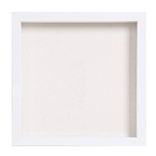 Muzilife 3D Bilderrahmen zum Befüllen 25x25cm Tiefe Box Objektrahmen mit Glasscheibe 1 Stück, Weiß