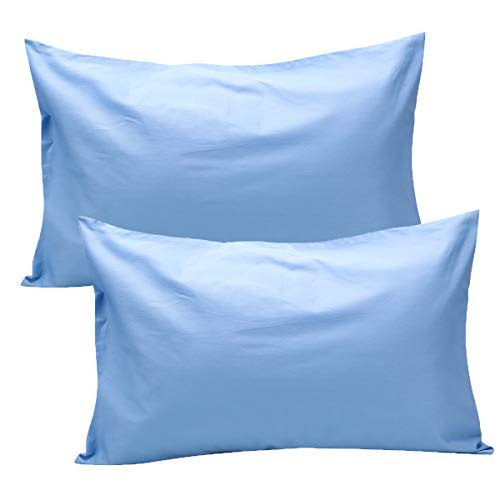 UOMNY Toddler Pillowcases 2 Pack 100% Cotton Pillow Cover 14x20 Baby Ultra Soft Pillow Cases for Sleeping Tiny Pillows case for Kids Solid Pillowcases Travel Pillowcases Bright BlueKids