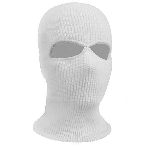 LYQR 3 Piezas Invierno Térmica Pasamontañas 2 Agujero Cara Máscara, Elástico Un Tamaño, De Punto Capucha Cuello Más Cálido Esquí Pescar Paintball,Blanco