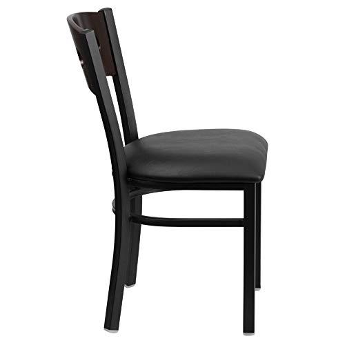 Flash Furniture HERCULES Series Black 3 Circle Back Metal Restaurant Chair - Walnut Wood Back, Black Vinyl Seat