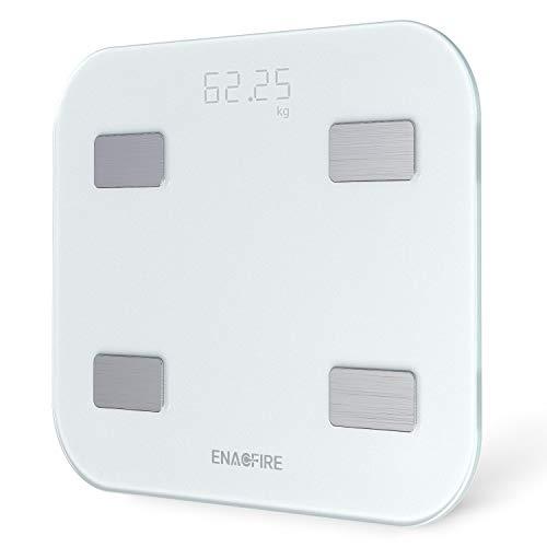 体組成計 体重計 体脂肪計 USB充電式 スマホでデータ管理 ヘルスケア・Fitbit・Google Fitと連携 体重/体脂肪率/体水分率/推定骨量/基礎代謝量/BMI/など簡単測定・同期 iOS/Androidアプリで 健康管理・肥満予防・体重管理 立てかけ収納OK 乗るだけで電源ON 日本語取扱説明書付き (ホワイト)