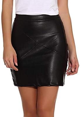 GUANYY Women's Faux Leather Vintage High Waist Classic Slim Mini Pencil Skirt (Black, Medium)