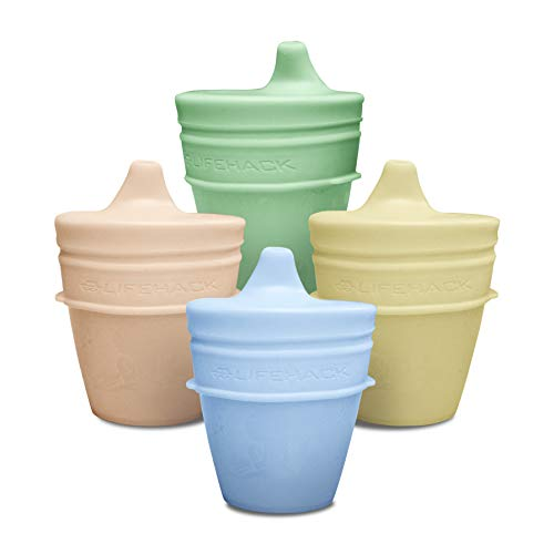 Sippy Cup Lids By MrLifeHack - (4 Pack) - Makes Any Cup Or Bottle Spill Proof - 100% BPA Free Leak Proof Silicone - Perfect for Toddlers & Babies (Pastels Red, Blue, Green, Yellow)