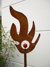 Zen Man Garteninspiration Gartenstecker Feuermotiv 160cm hoch