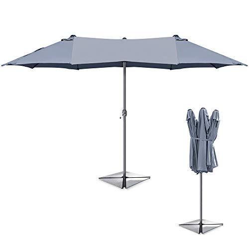 YXB Garden Parasol, Double side 2.7x4.5m Patio Umbrella, UV50 Sun Protectio for Pool Deck Patio Garden Beach