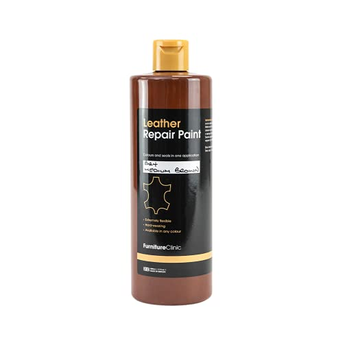 Furniture Clinic Leather Repair Paint & Dye   Self Seal Colourant for Quick and Easy Leather Repair   Suitable for Leather Sofas, Leather Car Seat, Shoes, Handbag, and more - Dark Brown (BR07) 60ml