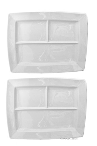 "Set of 2 Large White Porcelain Divided 14"" x 11"" Fondue Plates Platters Trays"