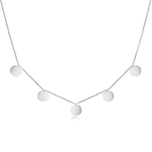 GD GOOD.designs EST. 2015  5 Coin Collar para Mujer - Collar de Acero con Cinco Redondas Disco (Cadena 40 +5 cm) - en Plata, Oro o Oro Rosa (Plata)