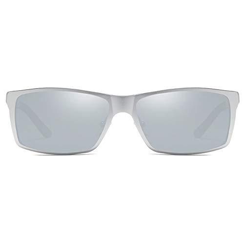 QCSMegy Gafas de sol para hombre con montura de aluminio y magnesio, montura plateada para hombres y mujeres con la misma conducción (color plateado)