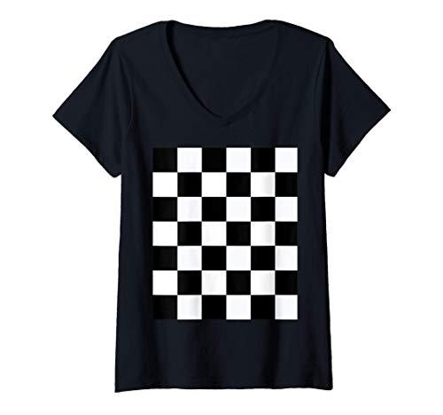 Mujer Diseño de música Ska Patrón símbolo Ska blanco negro cuadros Camiseta Cuello V