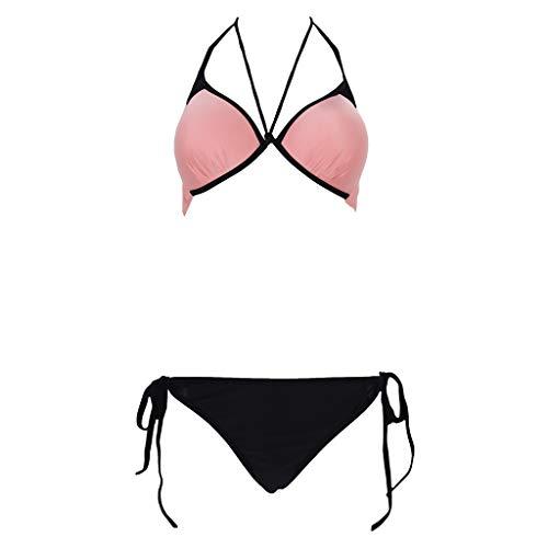 None Brand Damen Neckholder-BH Blumenmuster Mesh Patchwork niedrige Taille Tanga Bikini Set Badeanzug, HM, HM