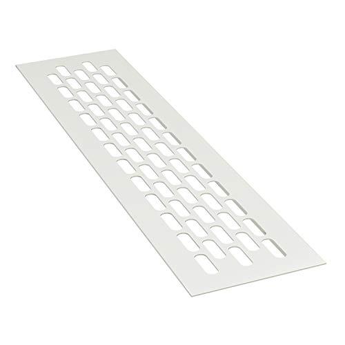 sossai® Aluminium Lüftungsgitter - Alucratis (1 Stück) | Rechteckig - Maße: 24,5 x 6 cm | Farbe: Weiss | Pulverbeschichtet
