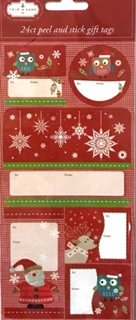 Peel and Stick Gift Tags Stickers Owls, Santa Claus, Reindeer, Jack Frost, Children on Christmas Day, Multiple Colors & Designs (24 Red Country Christmas, 24)