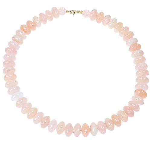 Sogni d'oro - Collar para Mujer con Piedras Preciosas, Oro Amarillo 375, Color Ros