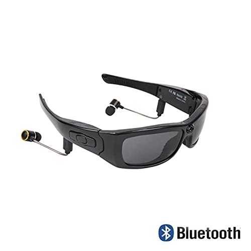 N\C Gafas de CáMara, CáMaras EspíA, Gafas de Sol Bluetooth, Gafas de Sol con MúSica EstéReo Auriculares Auriculares InaláMbricos con MicróFono, Gran Angular de 120 Grados 1080p, Negro