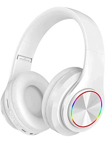 CIC Fones de ouvido Dobrável Bluetooth com Led do Brilho de 7 Cores Over Ear em Estéreo Sem Fio Cartão TF Portátil com Microfone para IOS Android PC TV, Branco