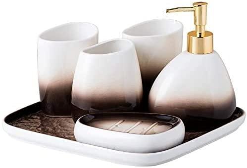 KMILE 4 Piezas con Bandeja Incluye jabón dispensador Vaso jabón Plato Ideas (Color : Default)