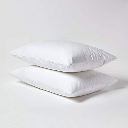 Homescapes Lot de 2 Protège-oreiller et protège-matelas rembourrés 100 % coton, blanc, 48 x 74 cm
