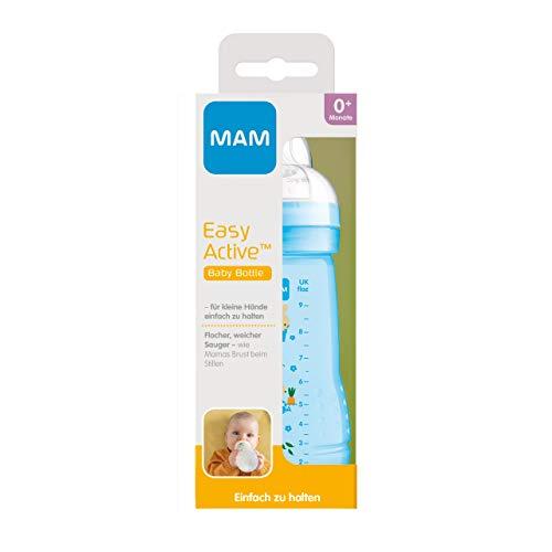 MAM Easy Active Trinkflasche (270 ml), Baby Trinkflasche inklusive MAM Sauger Größe 1 aus SkinSoft Silikon, Milchflasche mit ergonomischer Form, 0+ Monate, Hase