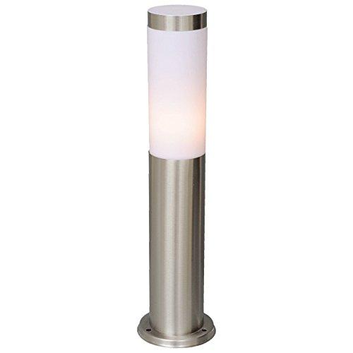 DeMarkt 809040201 Lampada da Terra basso Esterno in Giardino Moderno in acciaio Colore Bianco IP44 E27 1 luce x 40W