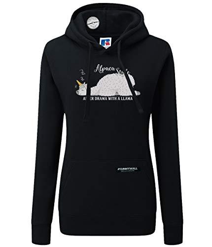 Sunnywall Alpaka *MOTIVAUSWAHL* - Alpaca Sweatshirt Hoodie Ladyfit Damen Kapuzen schwarz Pullover (150 After Drama with a lama, S)