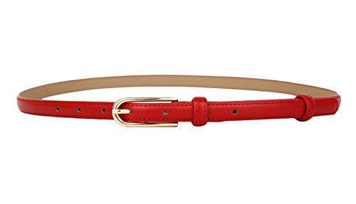 MARRYME Damen Ledergürtel Jeansgürtel Taillengürtel Schmal Gürtel für Kleider Kürzbar Belt Kunstleder-Gürtel Gesamtlänge 107cm Rot