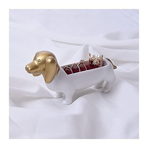 Desktop-Skulptur Harz Skulptur Dachshund Hund Statue Kunst Schmuck Box Halskette Lagerregalanzeige Requisiten Wohnaccessoires Ornamente Handwerk Figuren