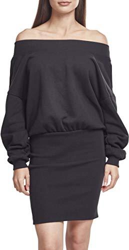Urban Classics Damen Ladies Sweat Off Shoulder Dress Kleid, Schwarz (Black 00007), Large