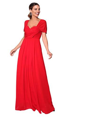 KRISP Vestido Fiesta Largo Talla Grande Boda Elegante Plisado Noche, (Rojo (4815), 46 EU (18 UK)), 4815-RED-18, Rojo (4815), 46 EU (18 UK), 4815-RED-18